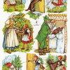 กระดาษตัดสำเร็จ ลายนูน แบบมีกากเพชร แนววินเทจ แนวการ์ตูน หนูน้อยหมวกแดง กับ หมาป่า ที่ปลอมตัวเป็นคุณยาย รวม 8 ชิ้น