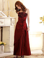 ** In Stock ** ชุดราตรียาว สายเดี่ยว ผ้าโพลีเอสเตอร์ อกประดับดอกกุหลาบแสนสวย สีแดง (XL)